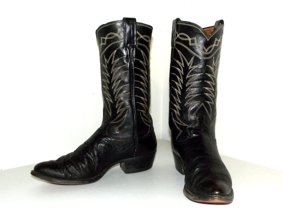 boots cowboy Rockabilly B 9 style leather in black vintage size tEUZFqwrU
