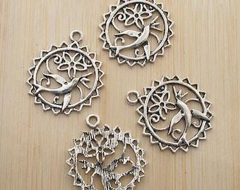 10pcs 25mm antique silver Peace Dove charms pendants G385