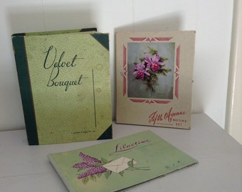1940's Ephemera Shabby Cardboard files Note Pads Vintage Boxes as found Orchids and Lavender stationary