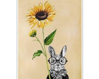 Rabbit Print, Rabbit Art Print, Rabbit Bunny Print, Rabbit Art, Bunny Print, Rabbit Wall Art, 8x10,Orange, Rabbit Artwork,Sunflower