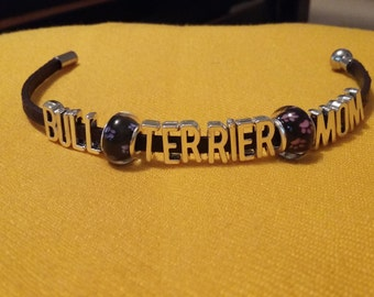 Real leather bull terrier mom bracelet /hand made/