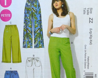 Uncut 2012 McCall's Sewing Pattern 6568, Size L-XL-XXL; Misses'/Miss Petite Shorts and Pants
