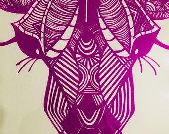 Giraffe framed silk screen print