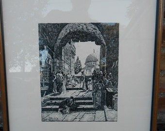 Judaica M. Cohen Etching Yafo Gate Old Jerusalem