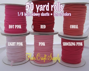 HOT PINK - Skinny Elastic 50 yard roll for baby and adult headbands thin one eighth inch width rolled on tiny rolls for storage