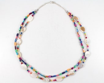 Multi Color Genuine Mother of Pearl Two Strand Statement Necklace, Rainbow Pearl Necklace, Multistrand Multicolor Necklace, Gift Necklace