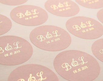Wedding Stickers, Foil Wedding Stickers, Wedding Favour Stickers, Wedding Labels, Elegant Wedding Stickers, Personalised stickers, D10