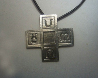 greek cross with symbols 4 season charm amulet sterling silver 925 necklace