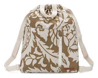 Drawstring Upcycled Flora Hawaiian Backpack Made With Rescued Upholstery Textile Limited Edition
