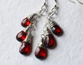 """Garnet Earrings, Garnet Jewelry, Sterling Silver Earrings, Red Earrings, Cascade Earrings, CircesHouse, January Birthstone, """"Scarlet Falls"""""""