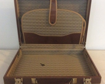 Savoy Mid Century Briefcase Attache Case Brown Faux Leather w/Key
