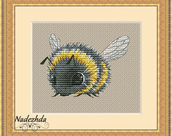 Bumblebee Cross Stitch Pattern Animal pattern Modern cross stitch pattern PDF Embroidery room wall decor