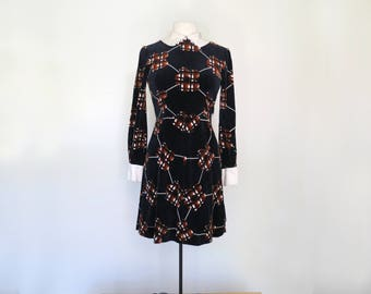 NICO // late 60s or early 70s moody velveteen mini dress