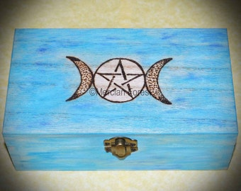 Triple Moon Pentacle Wooden Box - Handmade Pyrographed Gift for Wicca, Witch, Altar, Tarot