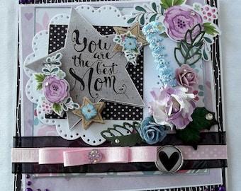 Mother's Day card, handmade, shabby 3D