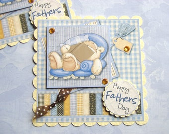 Fathers Day Card Toppers Fizzy Bear in his favourite chair Card Making Toppers for Fathers Day Cards
