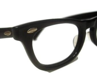 Vintage 60s Black Horned Rim Eyeglasses AmericanOptical