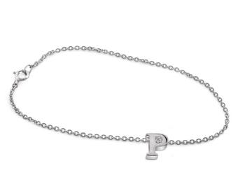P Initial Charm Bracelet in Sterling Silver
