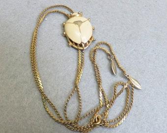 38 Inch Vintage Golden Beetle Bug Lariat  Necklace