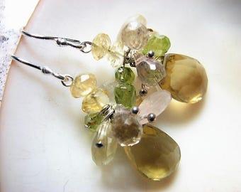 Lemon Quartz, Multi-Gem Earrings