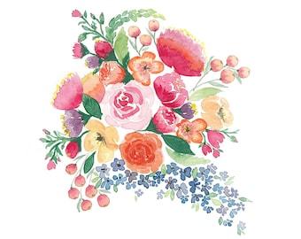 Vibrant Flower Cluster Watercolour Giclee Fine Art Print