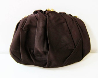 1950s vintage cocoa satin kiss lock change purse handbag purse clutch