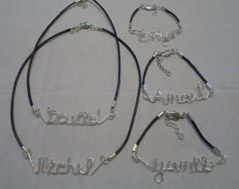 names and necklace personalized monograms men and women's names with a silver adjustable clasp with leather laces
