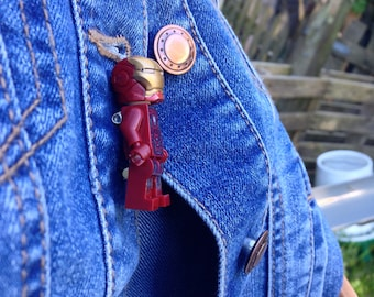 Iron Man Tony Stark  Minifigure replica pin badge Avengers Marvel Comics Iron Man Brooch Gift Cufflinks also available Father's Day gift