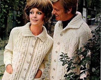 PATONS 6065 His & Hers Aran Style Cardigans Original Vintage Knitting Pattern