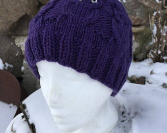 Owl Hat - Adult Size, Hand Knit - Purple