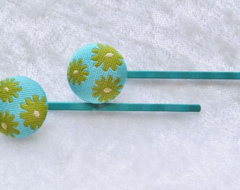 Vintage Turquoise Fabric floral Hair Pins Bobby Pin Pair