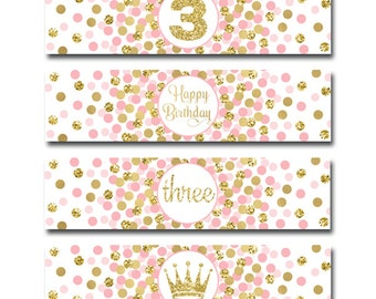 Little Princess Party Water Bottle Labels Girl 3rd Birthday Party Decorations Third Birthday Party Pink Gold Water Bottle Wraps Printable