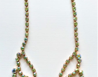 Vintage AB Crystal Necklace, Green Crystal Necklace, Gold Tone Necklace, Vintage Wedding