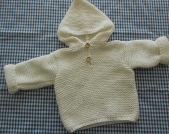 White Hooded sweater size 3 months