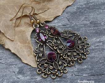Gothic earrings, baroque style, bronze metal Swarovski crystals customizable, chandelier earrings, gothic jewelry