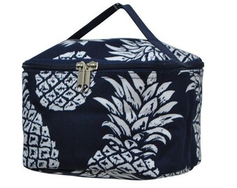 Personalized Cosmetic Bag - Embroidered Makeup Bag - Navy Pineapple Makeup Bag - Pineapple Cosmetic Bag - Monogrammed Makeup Bag -