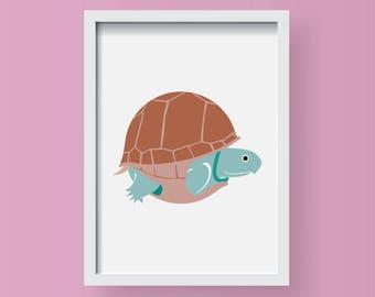 Turtle Illustration Animal A4 Print-Nursery-Home decor