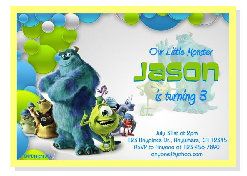 Personalized Monster Inc Birthday Invitation DIY Digital