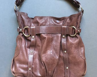 Vintage TANO Genuine Leather Large Brown Shoulder Bag