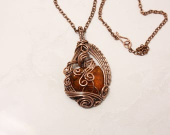 Copper pendant Raw natural amber necklace Baltic amber Wire wrap jewelry Boho Wire Art wrap stone  copper jewelry Mothers day gift for mom