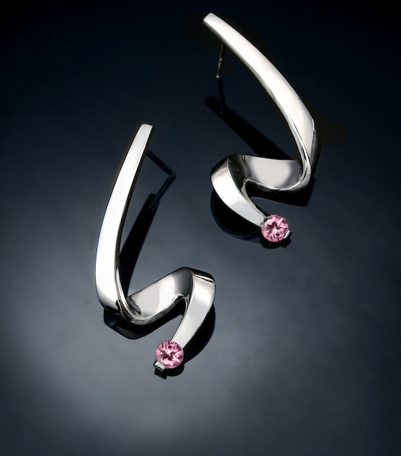 pink topaz earrings, baby pink topaz, silver earrings, wedding earrings, Argentium silver, posts, dangle earrings, modern jewelry - 2380