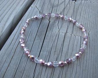 Metallic Pink, Clear, and Silver Beaded Ankle Bracelet