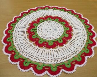 Crochet doily,Home Décor, Red green round doily,Home & Living, Doilies,lace doily,Cotton doily,Handmade doily