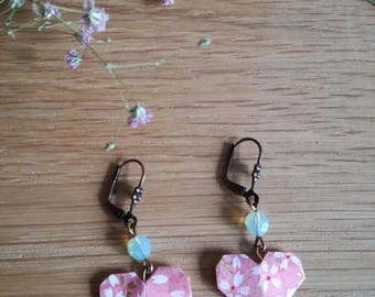 Pink origami heart earrings