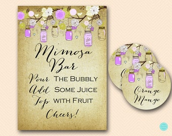 Purple Mason Jars Mimosa Bar Sign, Mimosa Bar Printable, Bubbly Bar Sign, Mimosa Sign, Mimosa Bar, Bridal Shower Decoration Signs BS49