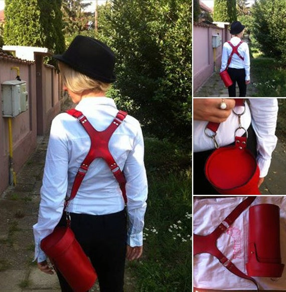 Multi camera Red Leather Harness, Photographers FULL GRAIN leather strap, red leather harness, dual camera leather strap, 74street