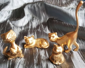 Vintage set of 4 cats, small  brass figurines, brass cats,vintage, brass figurines, cats  miniatures