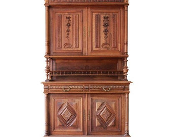 Antique French Renaissance Walnut Sideboard Hutch