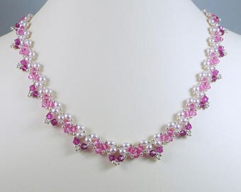 Necklace Woven Pearl and Swarovski Crystal Bright Pink Gifts for Her