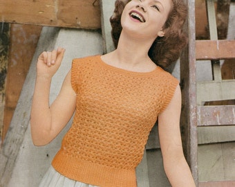 1950s ORIGINAL Vintage Knitting Pattern / Lady's Jumper / Sleeveless Top / Lee Target Pattern 1502